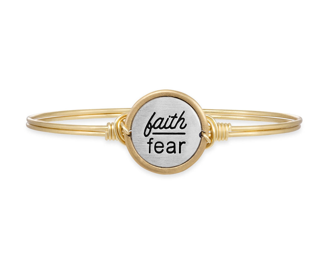 Faith Over Fear Bangle Bracelet - Brass