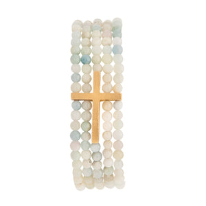 Dream Inspire 5-strand 4mm Bead Bracelet - Aquamarine