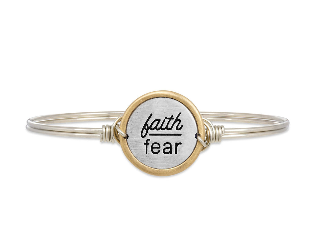 Faith Over Fear Bangle Bracelet - Silver