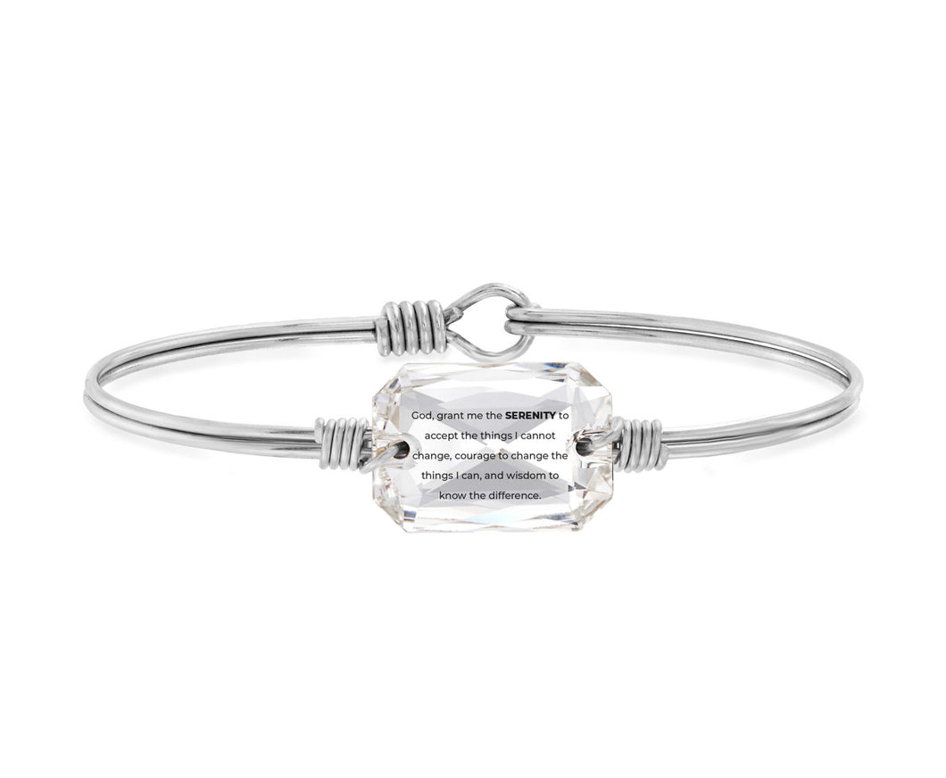 Serenity Prayer Bangle Bracelet - Silver