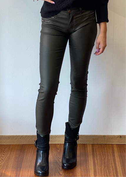 Lederlook Broek Zina - Army
