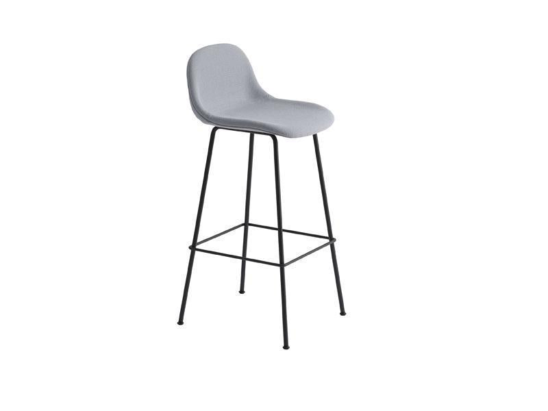 Fiber Counter Stool With Backrest Tube Base Full Upholstery