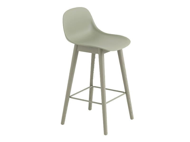 FIBER COUNTER STOOL WITH BACKREST WOOD BASE