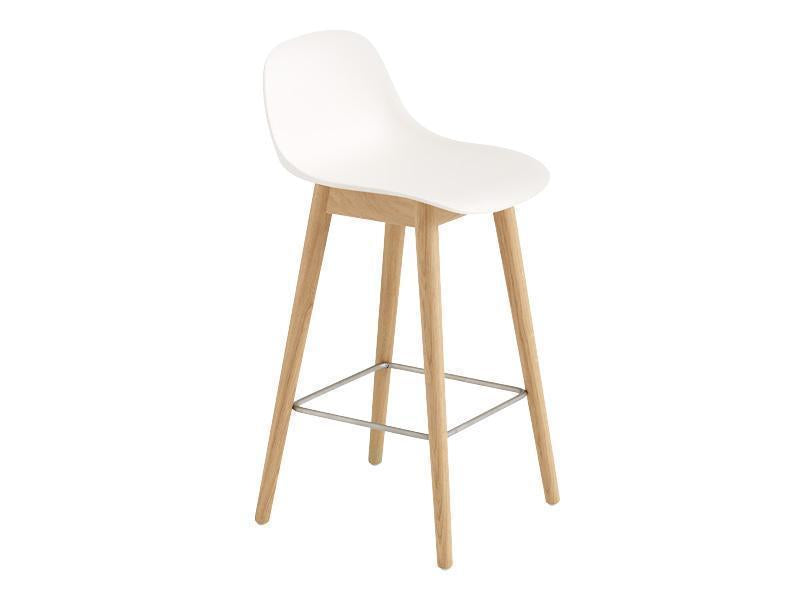 Fiber Bar Stool With Backrest Wood Base