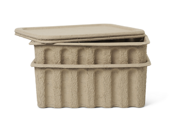 Paper Pulp Box large - set of 2 - Brown FERM-100313315