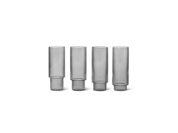 Ripple Long Drink Glasses - Set of 4 - S FERM-100128112