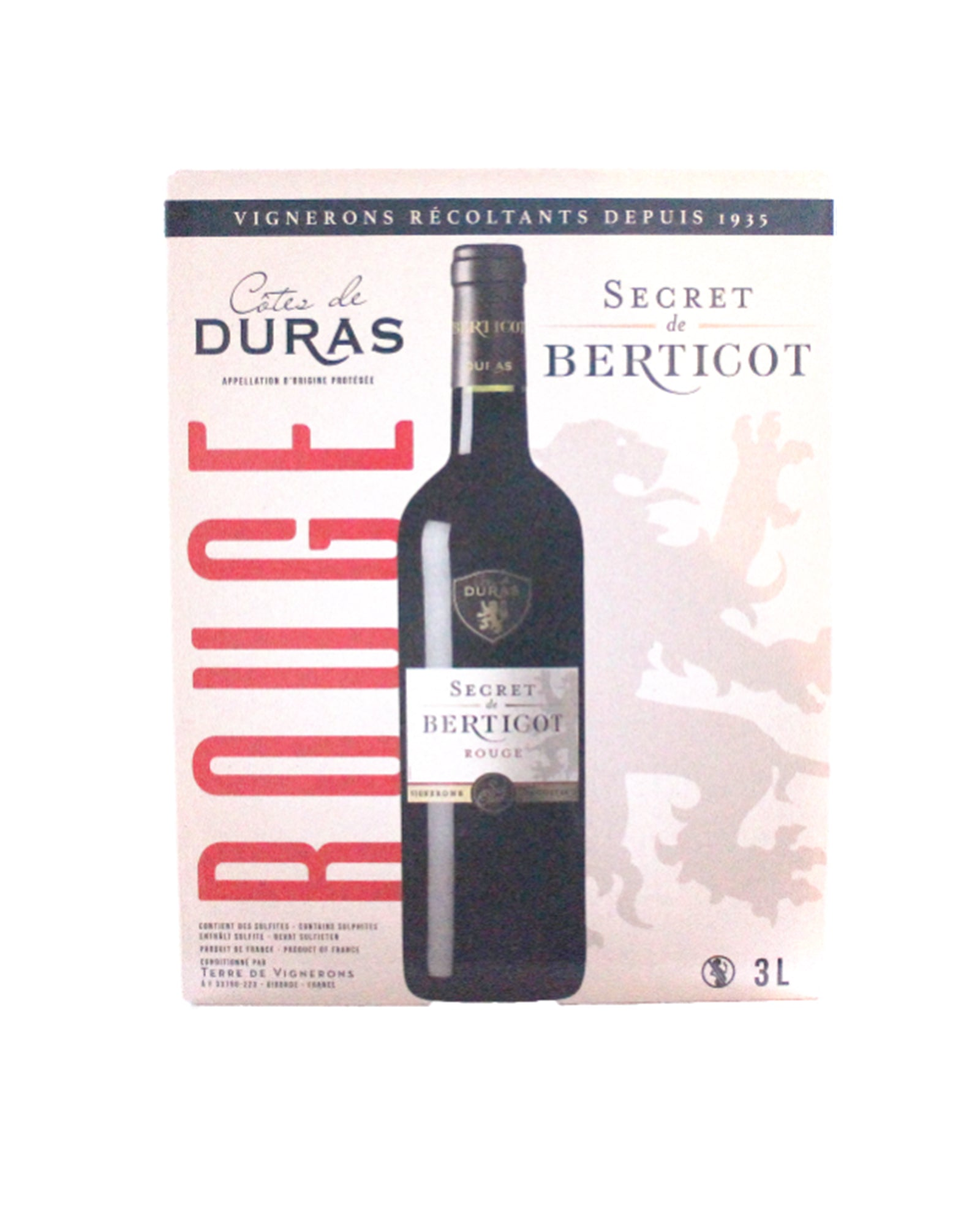Côtes-De-Duras rouge Secret de Berticot bag in Box 3 litres