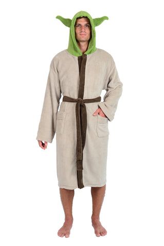 Star Wars Tan Green Yoda The Jedi Master Fleece Robe (One Size)