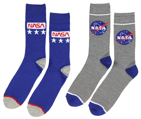 Buzz Aldrin NASA Logo Crew Socks 2 Pair Calf High