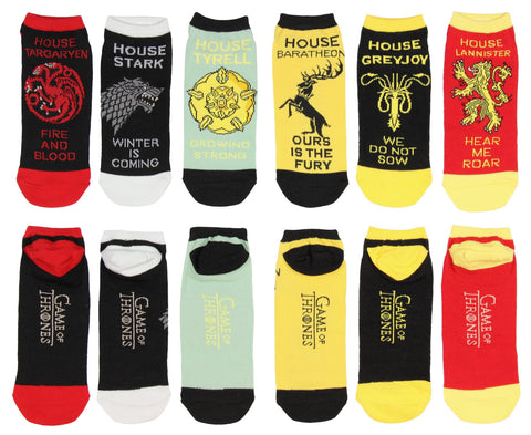 Game of Thrones Socks Noble House Banner Sigil Motto Adult Ankle 6 pack