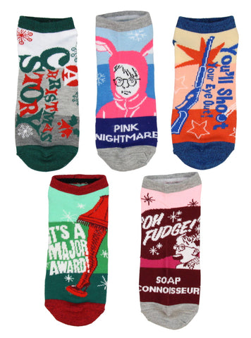 A Christmas Story Ralphie Ankle No Show Socks 5 Pair for Men or Women