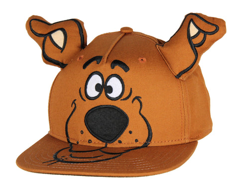 Scooby Doo Embroidered Character Face Adult Adjustable Snapback Hat Cap With 3D Ears