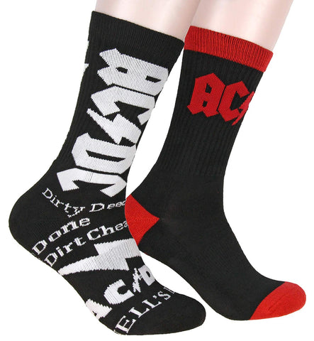 AC/DC Logo Athletic Crew Socks 2 Pair Pack For Men