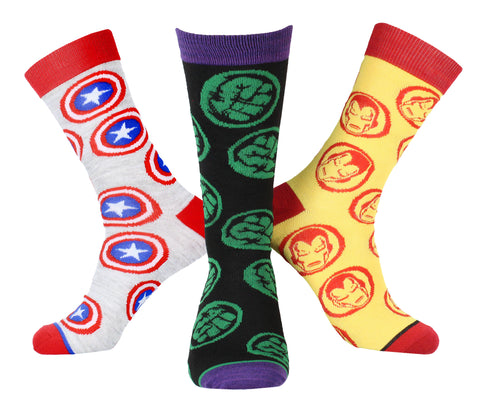 Marvel Avengers Iron Man Captain America Hulk Socks Men's Superhero Logo 3 Pack Mid-Calf Adult Crew Socks