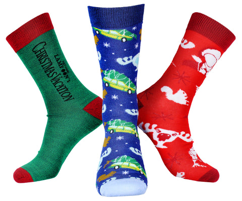 National Lampoon's Christmas Vacation Men's 3 Pack Moose Glass Squirrel Tree Sublimation Mid-Calf Adult Crew Socks