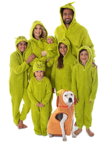 Dr. Seuss The Grinch Who Stole Christmas Matching Family Costume Pajama Sherpa Union Suit - Adult, Child, Toddler, Pets