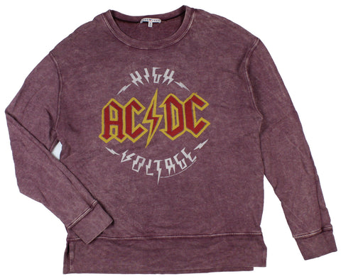 AC/DC Womens' High Voltage Mineral Wash Terry Pullover Sweater
