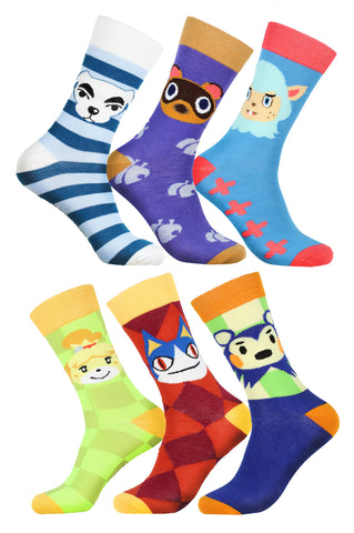Animal Crossing New Horizons Character Designs 6 Pack Adult Crew Socks