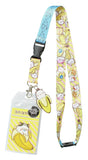 "Bananya ID Lanyard Badge Holder With 2"" Rubber Charm Pendant And Collectible Sticker"