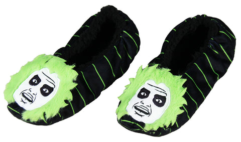 Beetlejuice Slippers 3D Hair Embroidered Character Slipper Socks with No-Slip Sole For Women Men