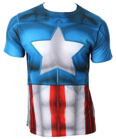Marvel Universe Adult Captain America Athletic Sublimation Costume T Shirt For Men