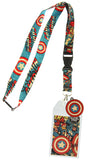 Captain America Lanyard Comic and Logo Print with Rubber Charm and ID Holder
