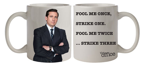 The Office Michael Fool Me Once Ceramic Coffee Mug 11 Oz. Beverage Cup
