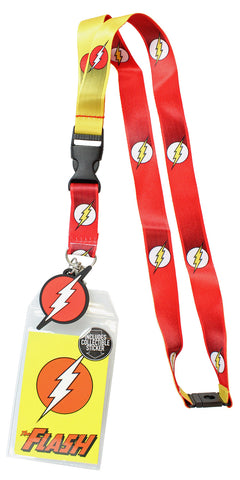 DC Comics The Flash 1950's Logo Reversible Breakaway Keychain Lanyard ID Holder & Charm Badge With Collectible Sticker - Seven Times Six