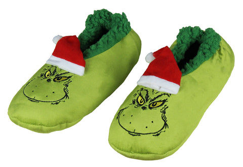 Dr. Seuss The Grinch That Stole Christmas Slippers Santa Grinch Slipper Socks with No-Slip Sole For Women Men