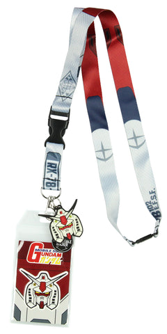 "Mobile Suit Gundam RX-78-2 Lanyard ID Badge Holder With 2"" Helmet Rubber Charm And Collectible Sticker"