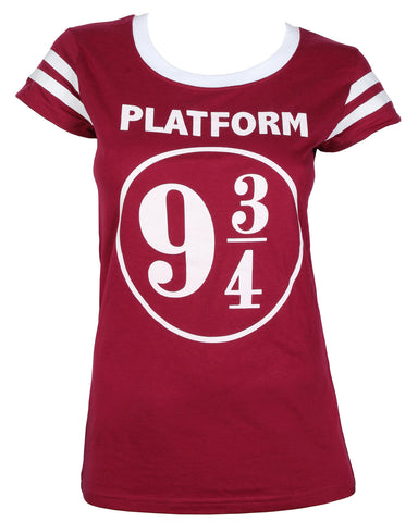 Harry Potter Platform 9 ¾ Juniors' Striped Sleeve T-Shirt