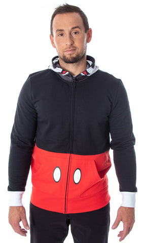 Disney Mickey Mouse Men's I Am Mickey Adult Costume Full-Zip Hoodie Sweatshirt with Mesh Mask and 3D Ears