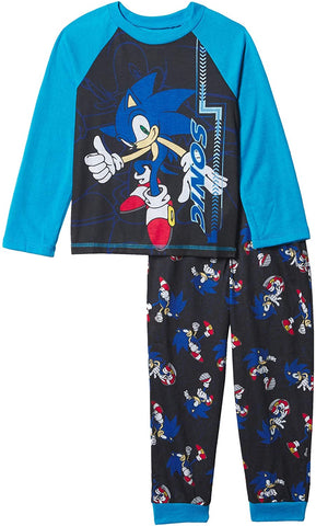 Sonic The Hedgehog Boys Pajamas Thumbs Up Two Piece Long Sleeve Shirt And Pants Sleepwear Set
