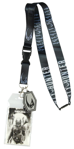 Star Wars The Mandalorian Mudhorn Rhino Sigil Lanyard ID Holder with Rubber Charm and Collectible Sticker