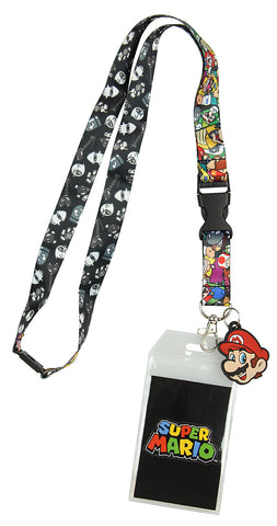 Nintendo Super Mario Characters Reversible Breakaway Keychain Lanyard with ID Holder, Rubber Mario Charm and Sticker