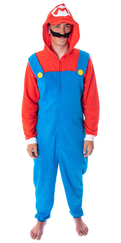 Super Mario Bros. Adult Men's Mario Costume Microfleece One-Piece Union Suit Pajama Outfit