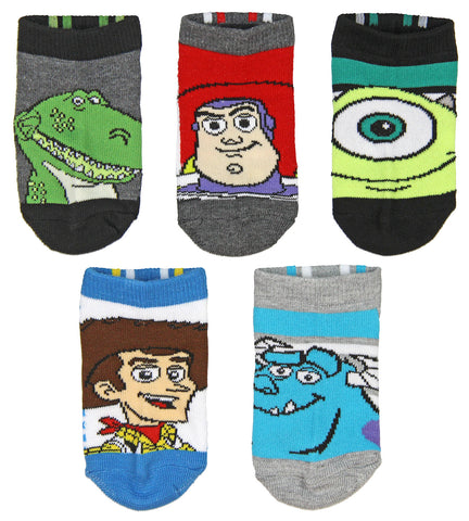 Disney Boys Toy Story and Monsters Inc. 5 Pk No-Show Socks (4/6)