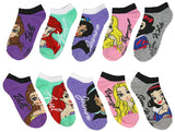 Disney Princess Girls Character Ankle No Show Socks 5 Pairs