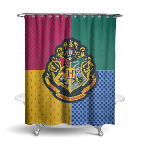 Harry Potter Shower Curtain Hogwarts Houses Gryffindor Slytherin Ravenclaw Hufflepuff