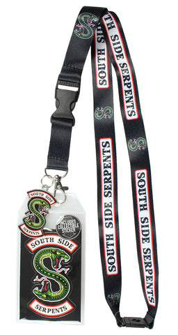 "Riverdale Southside Serpents ID Lanyard Badge Holder With 2"" Metal Charm Pendant And Collectible Sticker"