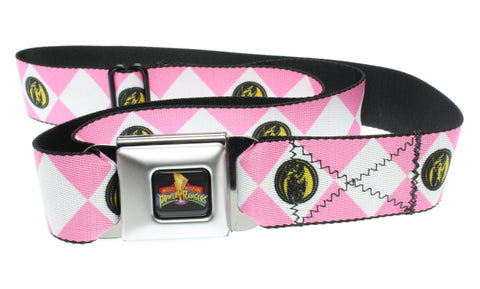 Power Rangers Logo Ranger Diamonds Adult Seatbelt Belt (One Size, Pink)-Holds Pants Up