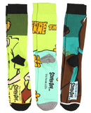 Bioworld Scooby-Doo! Socks Adult Mystery Machine Scooby Shaggy Character 3 Pack Mid-Calf Crew Socks