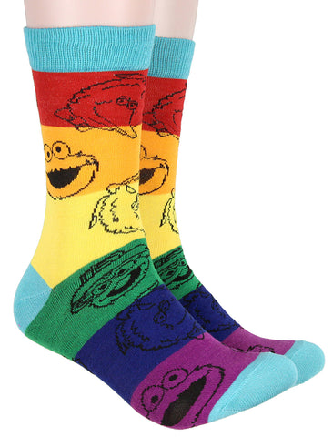 Bioworld Sesame Street Adult Striped Rainbow Color Character Heads Crew Socks For Men For Women