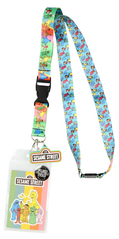 "Sesame Street Lanyard ID Badge Holder Keychain with 2"" Rubber Charm and Collectible Sticker"