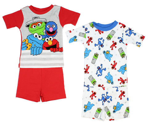 Sesame Street Boys' 4-Piece Cotton Pajama Set