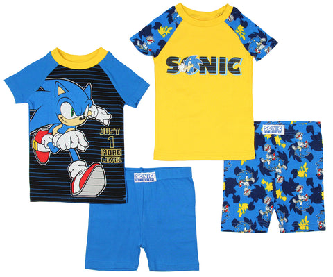 Sonic The Hedgehog Boys' 1 More Level 4 Piece Short Sleeve Pajama Set
