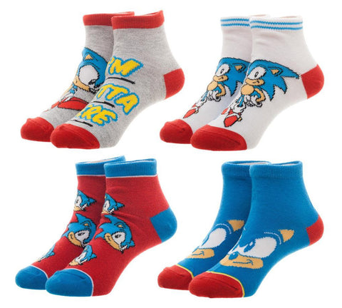 Sega Sonic The Hedgehog Youth Ankle Socks 4 PAIRS