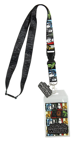 Star Wars Multi Character Lanyard with ID Badge Holder and PVC Charm
