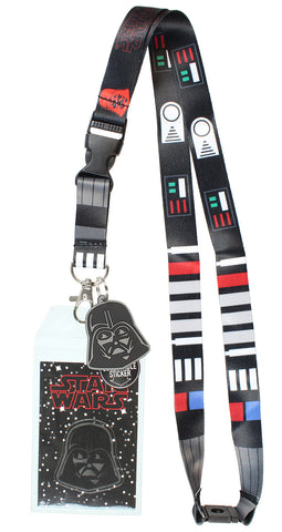 "Star Wars Darth Vader ID Lanyard Badge Holder With 1.5"" Rubber Charm Pendant"