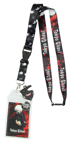 Tokyo Ghoul Ken Kaneki Lanyard ID Holder with Mask Rubber Charm and Collectible Sticker